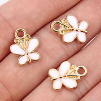 10Pcs Alloy Butterfly Charm Pendants White Enamel Beads Jewelry Making Findings