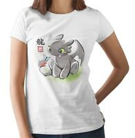 Japanese Style Toothless Dragon cute Ladies Unisex Fit WHITE T-Shirt
