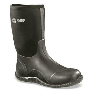 New Guide Gear Mens Mid Bogger Waterproof Rubber Hunting Rain Boots, Black