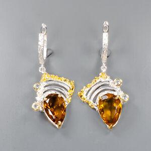 18ct+ Fine Art SET Cognac Quartz Earrings Silver 925 Sterling   /E49420