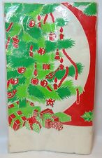 Vtg CHRISTMAS TABLE COVER Textured Paper 48 x 96 Red Green Tree Gifts Tuttle Prs