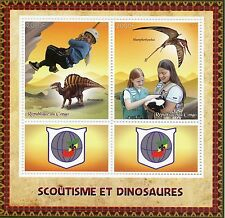 Congo 2015 MNH Scouting & Dinosaurs 2v M/S + Labels Scouts Ouranosaurus Stamps