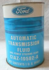 VINTAGE FORD AUTOMATIC TRANSMISSION AND POWER STEERING FLUID  METAL CAN  NOS