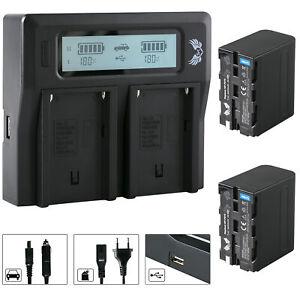 2x SK Akku für Sony NP-F970 6600mAh + Dual Charger NP-F750 | 1060386 90105 90302