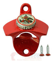 Red BUDWEISER EAGLE Beer Cap Bottle Opener Starr X Wall Mount Sturdy Cast Iron
