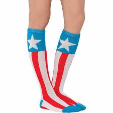 CAPTAIN AMERICA Knee High Socks Adult Women Teens Marvel Avengers Cosplay
