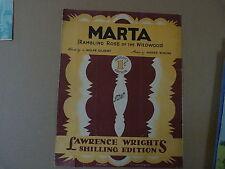 Foglio CANZONE Martha (Rambling ROSE dell' Wildwood) L W. Gilbert, M. Simons,1931