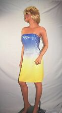 Designer KAY UNGER N Y Strapless Sequin Blue Yellow Ombre Cocktail Dress Size 4
