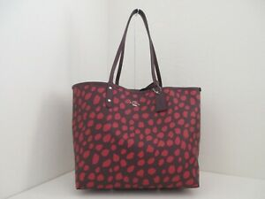 NWT AUTHENTIC COACH F37878 DEER SPOT PRINT REVERSIBLE CITY TOTE-$350-RASPBERRY