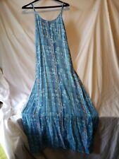Sacred Threads Maxi Dress Womens S/M Blue Floral Boho Style Sleeveless Tie Back