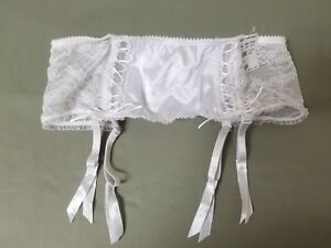 new fredericks of hollywood white satin and lace garter belt.
