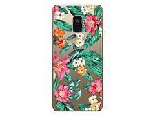 Samsung A8 2018 Coque souple transparente et résistante avec motif (Fleur)