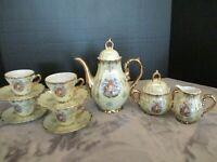EMBOSSED GOLD TRIM WINDMILL DESIGN 11 PIECE DEMITASSE TEA COFFEE SERVICE