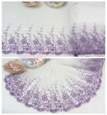 """10""""*1Y Embroidered Floral Tulle Lace Trim~White+Lilac+Purple~Sweet Gardenia~"""