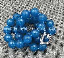 """Genuine Natural 12mm apatite Round Beads Necklace 18"""" Tibetan silver love clasps"""