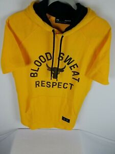 Under Armour Project Short Sleeve Hoodie Size M Men's Yellow Black 1326409-750