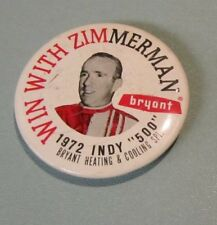 1972 Indy 500 Win With Zimmerman Bryant Heating & Cooling Pin Pinback Button