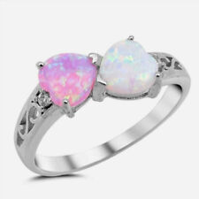 USA Seller Hearts Ring Sterling Silver 925 Jewelry White & Pink Lab Opal Size 8