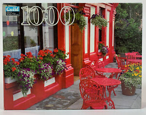 2001 Guild Puzzle Outside Cafe Geraniums Red Tables 1000 Piece New Sealed
