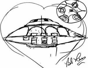 Signed Bob Lazar Sport Model Sketch UFO Print United Nuclear Scientific Limited