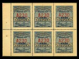 16T80 TELEGRAPH 25c Blue WESTERN UNION 1931 Pane Of 6 MNH SEE PHOTOS BK-348