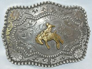 Vintage Style Silver Tone Western Belt Buckle with Cowboy & Bronco
