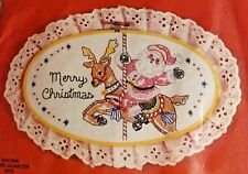 1987 COLORTEX Oval Cross Stitch Kit 5434 Merry Christmas Santa on Reindeer *NEW*