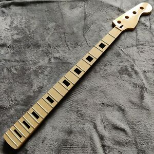 "New Maple Gloss Jazz J Style Block Inlay Bass Neck Skunk Stripe 34"" Scale"