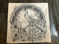Large Colour Your Own Cushion Cover Peacock And Flowers Design 45cm New White