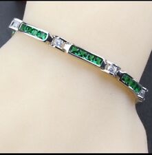 Green Emerald  White Topaz 925 Sterling Silver Rectangular Tennis  Bracelet 7""