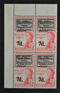 SIERRA LEONE STAMPS 1961 BLOCK OF 4 ONE WITH VARIETY NO DOT AFTER GPO U/M (Y69)