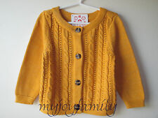 HANNA ANDERSSON Village Folktale Glitter Cardigan Sweater Maple 60 6-9 month NWT