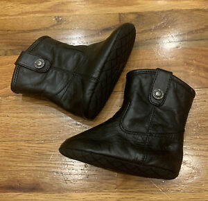 FRYE INFANT Baby Melissa Button Black Leather Boots Cowgirl Zip Crib Soft SZ 2