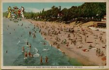 Popular Sandy Bathing Sun Bathers Beach Crystal Beach Ontario Canada Postcard C8