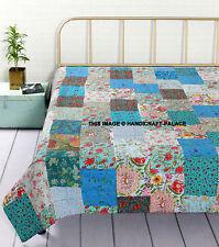 Kantha Patchwork Queen Cotton Quilt Turquoise Bedspread Bedding Decor Blanket