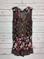 Umgee Boutique Women's Sz L Large Black Pink Floral Spring Summer Shorts Romper