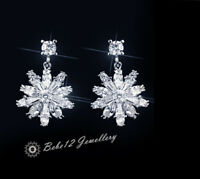 Sterling Silver Post/Snow flake Dangling Earring/Simulated Diamond/RGE731