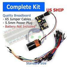 Arduino Uno Starter Kit 400 Point Breadboard, 65 Jumpers, USB & Battery Cables