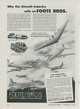 1946 Foote Bros. Aircraft Parts Ads Northrop B-35 Flying Wing Airplane Vintage