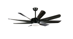 """Thank 60"""" Integrated LED Black 8 Blade Ceiling Fan with Light and Remote Control"""