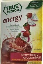 True Lemon Strawberry Dragonfruit Energy Caffeine From Green Tea 1-Box 6 Packets