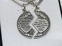 """MIZPAH Coin Necklace Set Silver Plated His Hers 18"""" & 24"""" Chains Love Religious"""