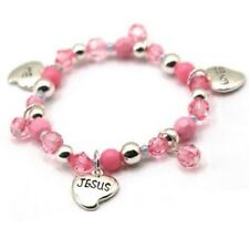 Childrens Pink Beaded Stretch Bracelet With Jesus Loves Me Heart Charms