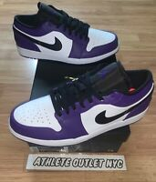 New Nike Air Jordan Retro 1 Low Court Purple Men's Size 12 Sneakers 553558-500