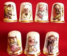 Set of 7 Solomon Grundy Born on a Monday (Gold Gilded) Collectors Thimbles