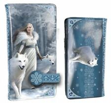 Nemesis Now - Winter Guardians Embossed Purse 18.5cm by Anne Stokes, Blue, Wolfs