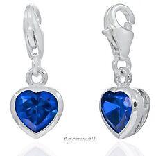 1PC Sterling Silver Small Heart Clip On European Charm w/CZ Sapphire Blue #94256