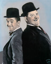 "LAUREL & HARDY HOLLYWOOD ACTORS COMEDIANS 8x10"" HAND COLOR TINTED PHOTOGRAPH"