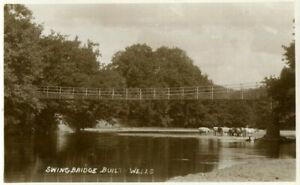 1910s postcard Swing Bridge BUILTH WELLS Brecknockshire