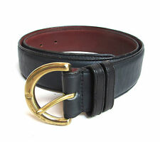 COACH Blue Brown SIGNITURE Leather BELT Brass Buckle 8500 Glove Tanned